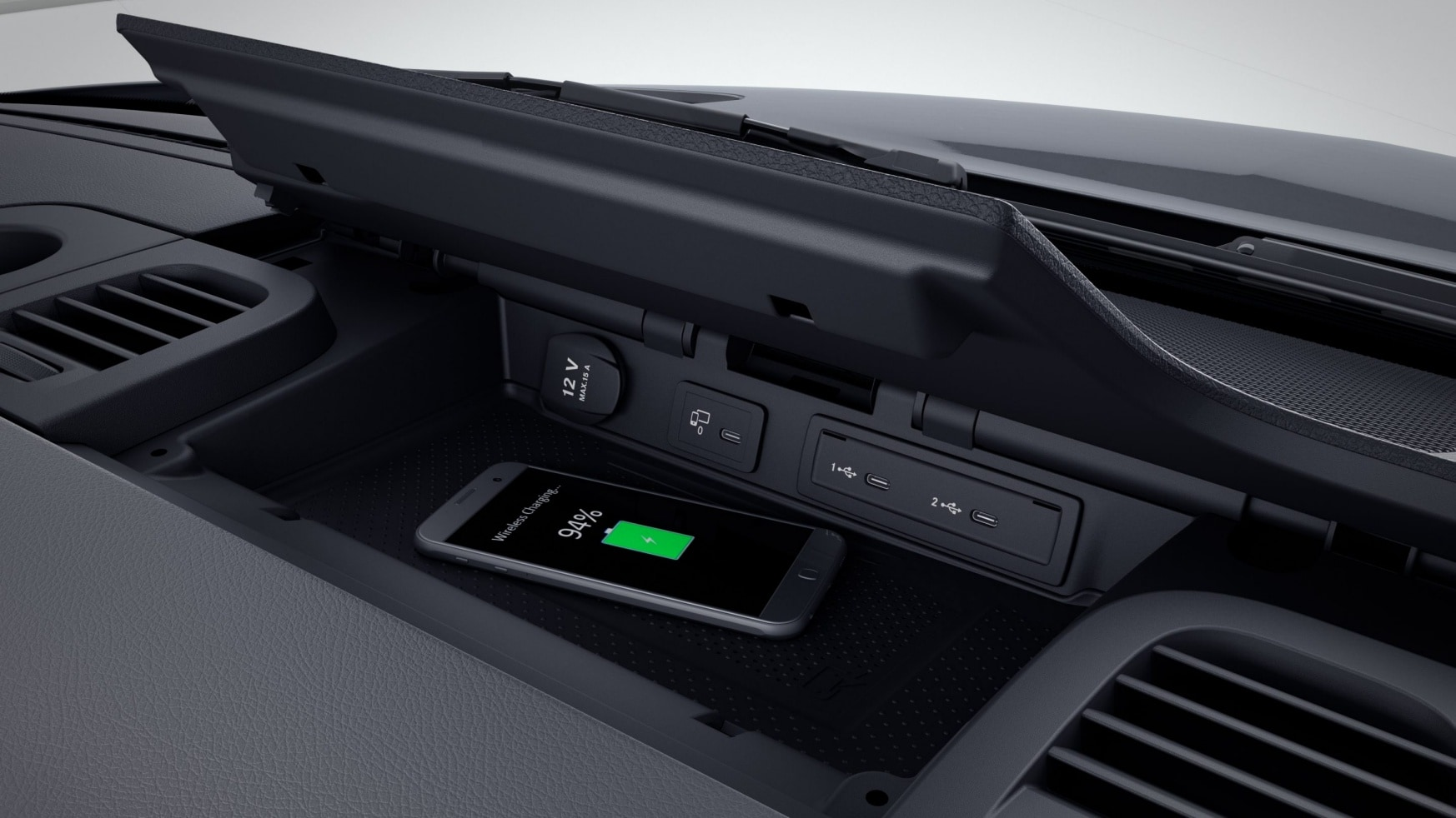 Sprinter Platform Vehicle, stowage compartment for smartphones including wireless charging